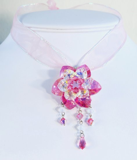 Designer fashion, bridal, crystal pendant jewelry, Swarovski Rose AB / Crystal AB - PEN 0001