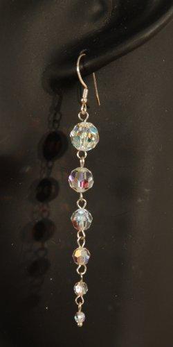 Designer fashion, bridal, prom crystal earrings jewelry, Swarovski Crystal AB - EAR 0025