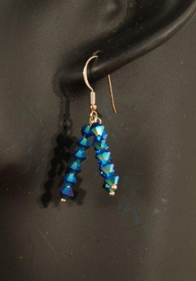 Designer fashion, bridal, crystal earrings jewelry, Swarovski Crystal Metallic Blue 2X - EAR 0026