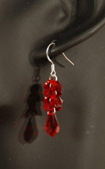 Designer fashion, bridal, prom crystal earrings jewelry, Swarovski Siam - EAR 0027