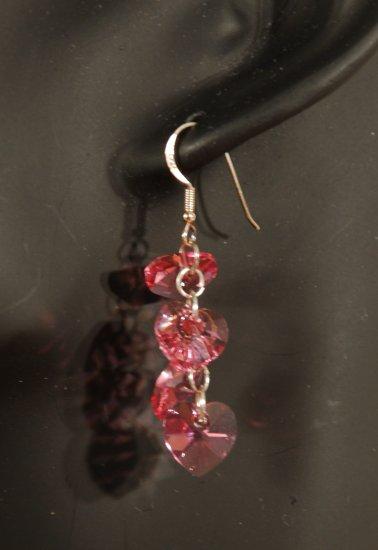 Designer fashion, bridal, prom crystal earrings jewelry, Swarovski Rose - EAR 0028