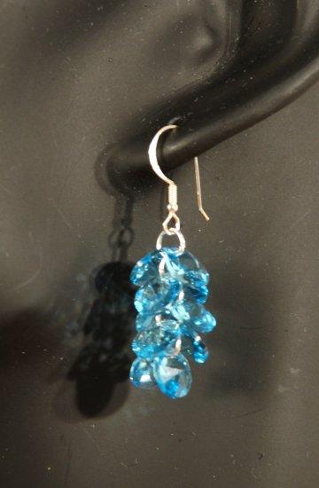 Designer fashion, bridal, prom crystal earrings jewelry, Swarovski Aquamarine - EAR 0029