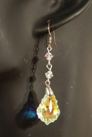 Designer fashion, bridal, prom crystal earrings jewelry, Swarovski Crystal AB - EAR 0040