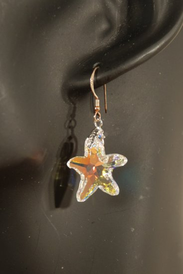 Designer fashion, bridal, prom crystal earrings jewelry, Swarovski Crystal AB - EAR 0041