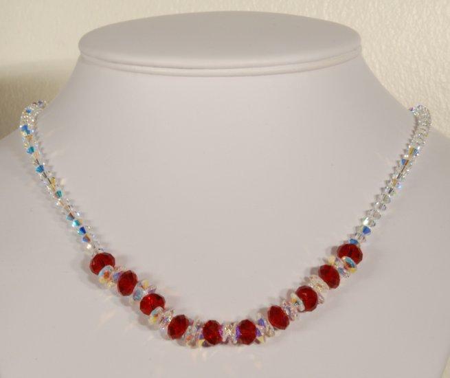 Designer fashion, bridal, crystal necklace jewelry, Swarovski Crystal AB & Light Siam - NEC 0022
