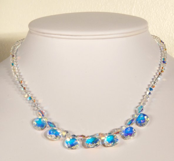 Designer fashion, bridal, prom crystal necklace jewelry, Swarovski Crystal AB - NEC 0023