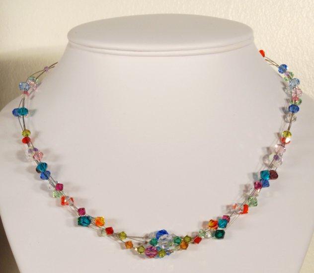 Designer fashion, bridal, prom crystal necklace jewelry, Swarovski Multi-colored - NEC 0024