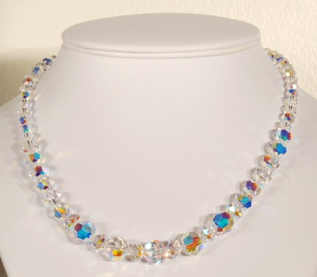 Designer fashion, bridal, prom crystal necklace jewelry, Swarovski Crystal AB - NEC 0026