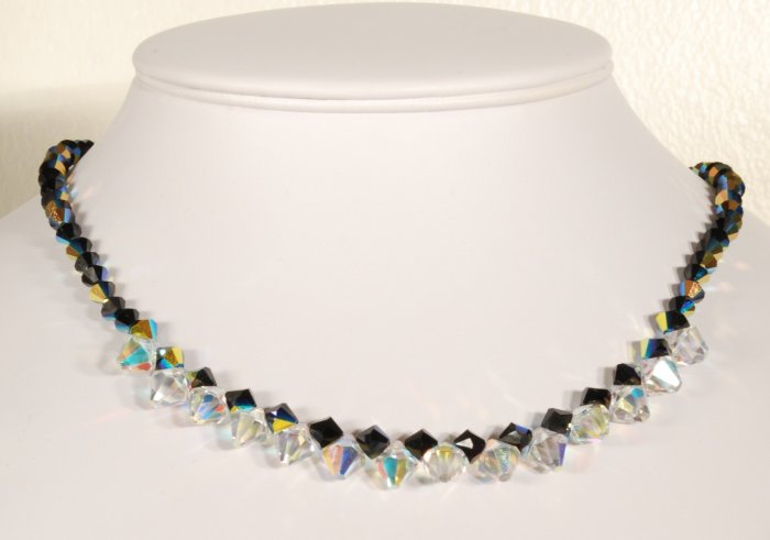 Designer fashion, bridal, prom crystal necklace jewelry, Swarovski Jet AB & Crystal AB - NEC 0028