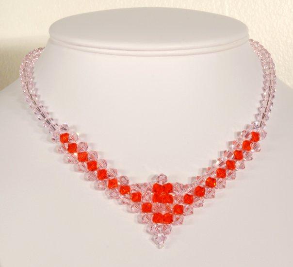 Designer fashion, bridal, crystal necklace jewelry, Swarovski Rose Water Opal & Hyacinth - NEC 0030