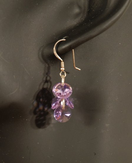 Designer fashion, bridal, prom crystal earrings jewelry, Swarovski Violet - EAR 0046