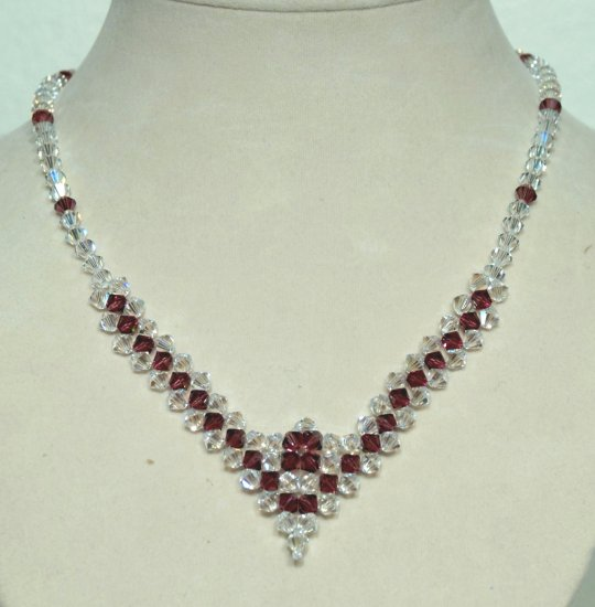 Designer fashion, bridal, prom crystal necklace jewelry, Swarovski Crystal AB & Amethyst - NEC 0036