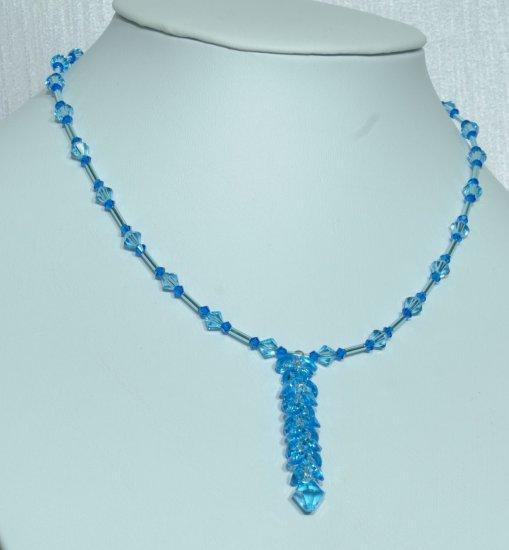 Designer bridal, crystal necklace jewelry, Swarovski Capri Blue / Light Blue / Aquamarine - NEC 0037
