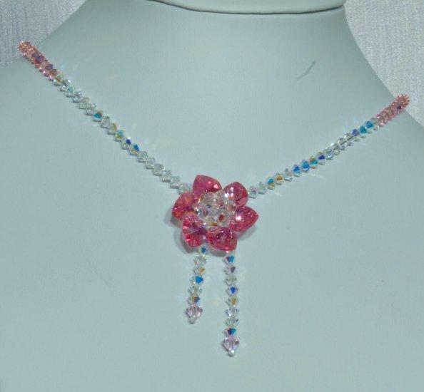 Designer fashion, bridal, prom crystal necklace jewelry, Swarovski Crystal & Rose AB - NEC 0040