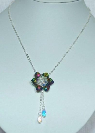 Designer bridal, crystal necklace jewelry, Swarovski Crystal AB / Vitrail Med / Silver - NEC 0043