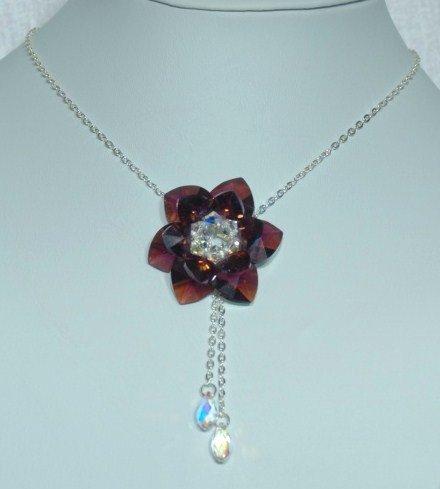 Designer bridal, prom crystal necklace jewelry, Swarovski Crystal AB & Amethyst AB - NEC 0045