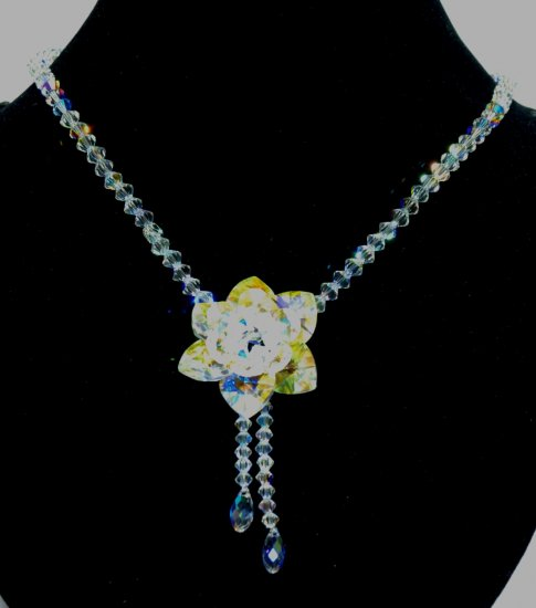 Designer fashion, bridal, prom crystal necklace jewelry, Swarovski Crystal AB - NEC 0046