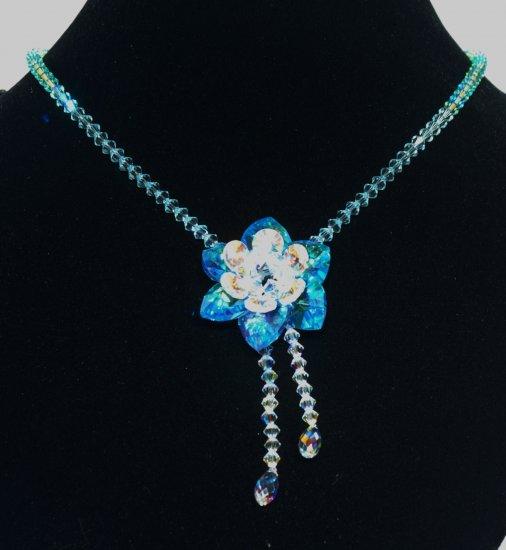 Designer bridal, prom crystal necklace jewelry, Swarovski Crystal AB & Aquamarine - NEC 0047