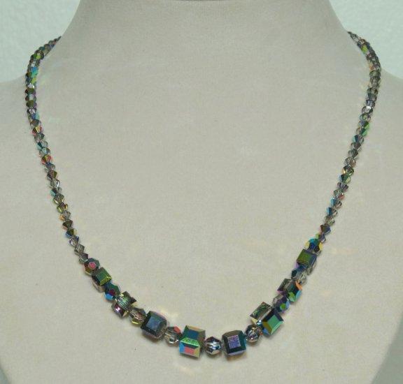 Designer fashion, bridal, prom crystal necklace jewelry, Swarovski Vitrail Med AB A - NEC 0050