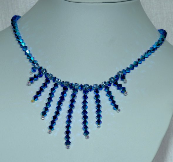 Designer fashion, bridal, prom crystal necklace jewelry, Swarovski Sapphire AB 2X - NEC 0051