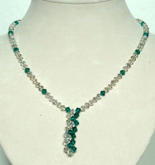 Designer fashion, bridal, prom crystal necklace jewelry, Swarovski Satin & Emerald - NEC 0052