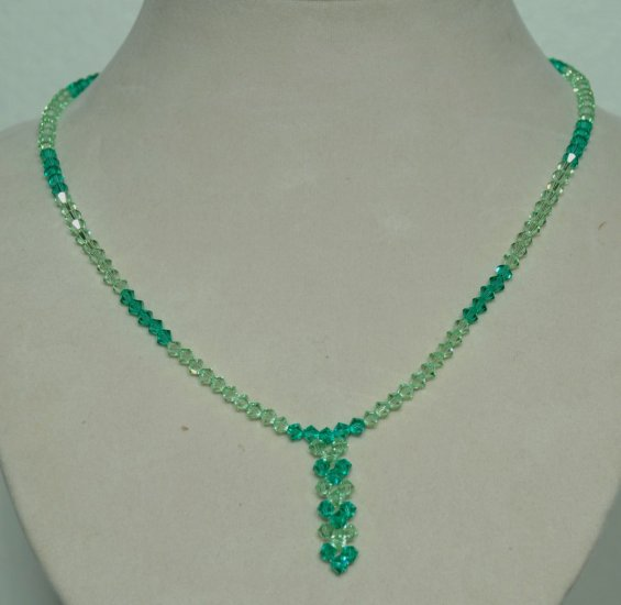Designer bridal, prom crystal necklace jewelry, Swarovski Palace Green Opal & Peridot - NEC 0053