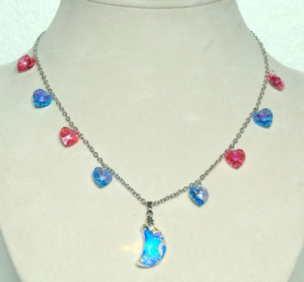 Designer bridal, crystal necklace jewelry, Swarovski Crystal AB / Rose AB / Aquamarine AB - NEC 0054