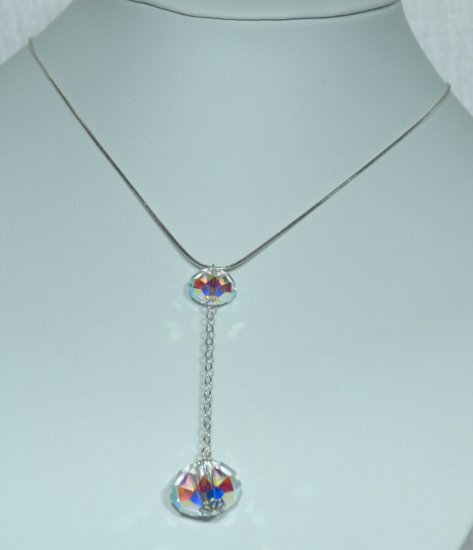 Designer fashion, bridal, prom crystal necklace jewelry, Swarovski Crystal AB - NEC 0055