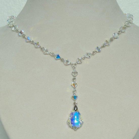 Designer fashion, bridal, prom crystal necklace jewelry, Swarovski Crystal AB - NEC 0056