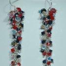 Designer bridal, crystal earrings jewelry, Swarovski Crystal AB / Jet AB / Siam AB - EAR 0056