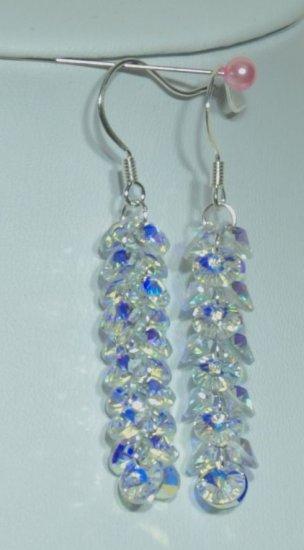 Designer fashion, bridal, crystal earrings jewelry, Swarovski Crystal AB - EAR 0059