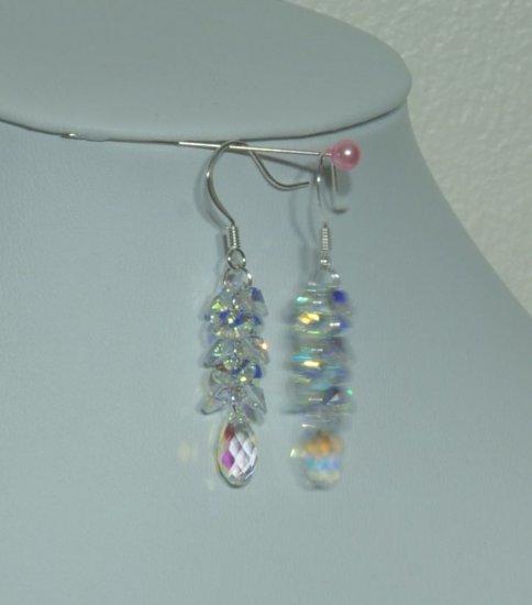 Designer fashion, bridal, crystal earrings jewelry, Swarovski Crystal Metallic Blue 2X - EAR 0062