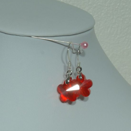 Designer fashion, bridal, crystal earrings jewelry, Swarovski Light Siam - EAR 0064