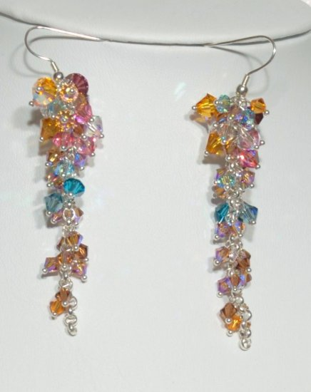 Designer fashion, bridal, crystal earrings jewelry, Swarovski Multi-coloured - EAR 0055