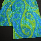 Vintage Vera  Mod 60's Green & Blue Paisley Power Long Scarf  *Made In the USA*