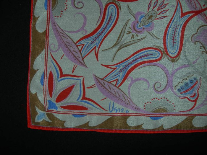 Sold - Vintage Vera Neumann Abstract Floral Square Silk Scarf