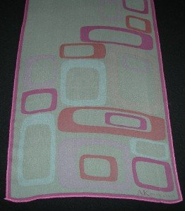 Anne Klein Pink and White Geometric Sheer Oblong Scarf