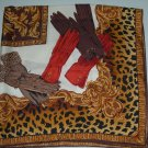 Vintage Large Square Silk Scarf Women's Gloves with an Animal Print Boarder