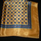 Vintage Gold Scarf with Geometric Navy Blue Print Large Square Scarf