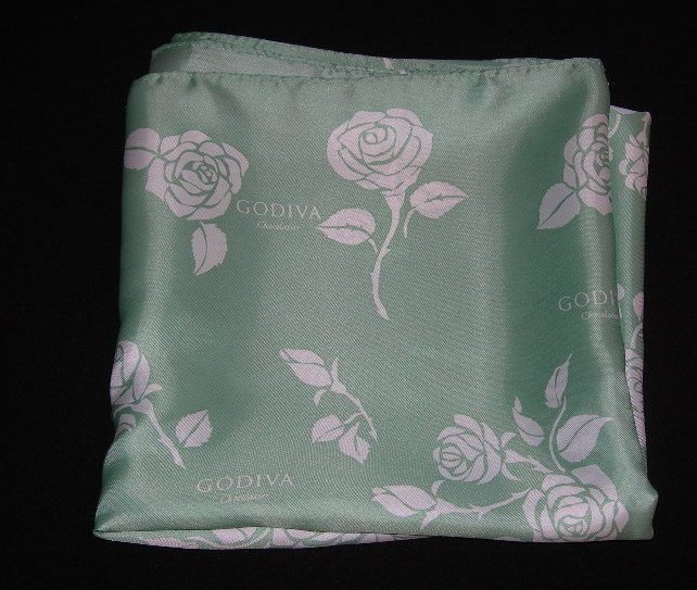 Godiva Chocolatier Promotional Scarf  - Green with White Roses