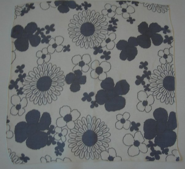 Vintage Mod Flowers Navy and White on Sheer White Silk