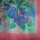 Vintage Italian Pink, Blue and Green Square Scarf