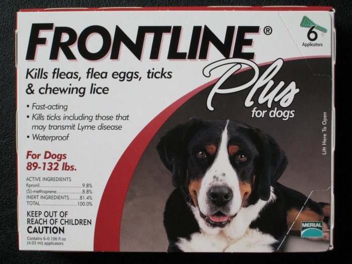 Frontline Plus Dogs 89-132 lbs 6 mo supply US, EPA Approved