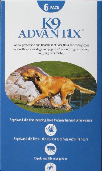 K9 Advantix for Dogs 55 lbs and over 6 month supply US, EPA Approved