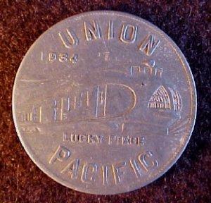 UNION PACIFIC TRAIN PULLMAN CAR TOKEN 1934