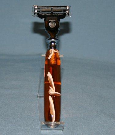 Mach III Razor Handle � Amber Lucite
