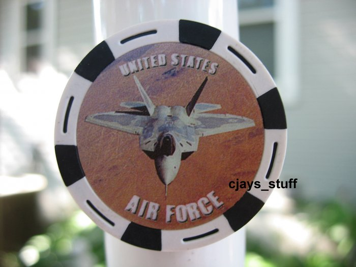 MILITARY AIR FORCE FIGHTER JET POKER CHIP FRIDGE MAGNET STRONG!