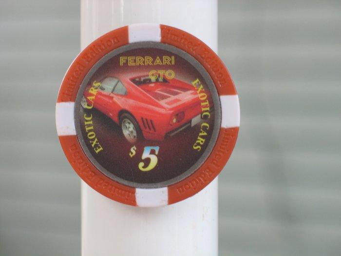 FERRARI GTO EXOTIC CAR $5 POKER CHIP FRIDGE MAGNET STRONG!