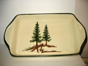 EAST TEXAS POTTERY LASAGNA BAKING DISH PINE TREES Near Vintage! Cabin Decor!
