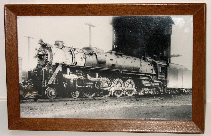 FRAMED STEAM ENGINE LOCOMOTIVE TRAIN PHOTO OLD PRINT